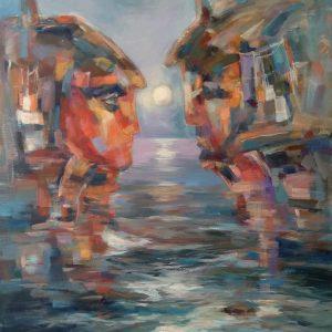 """Conversation"" Landscape Painting Angelina Nedin 2018"