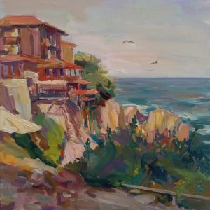 """View from the South Alley of Sozopol"" Seascape Painting Angelina Nedin 2021"
