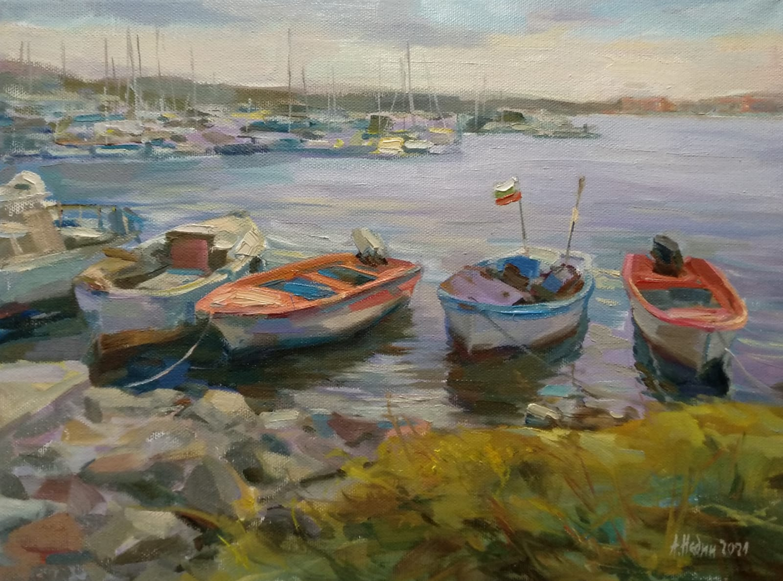 """Boats "" Seascape Paintings Angelina Nedin 2021"