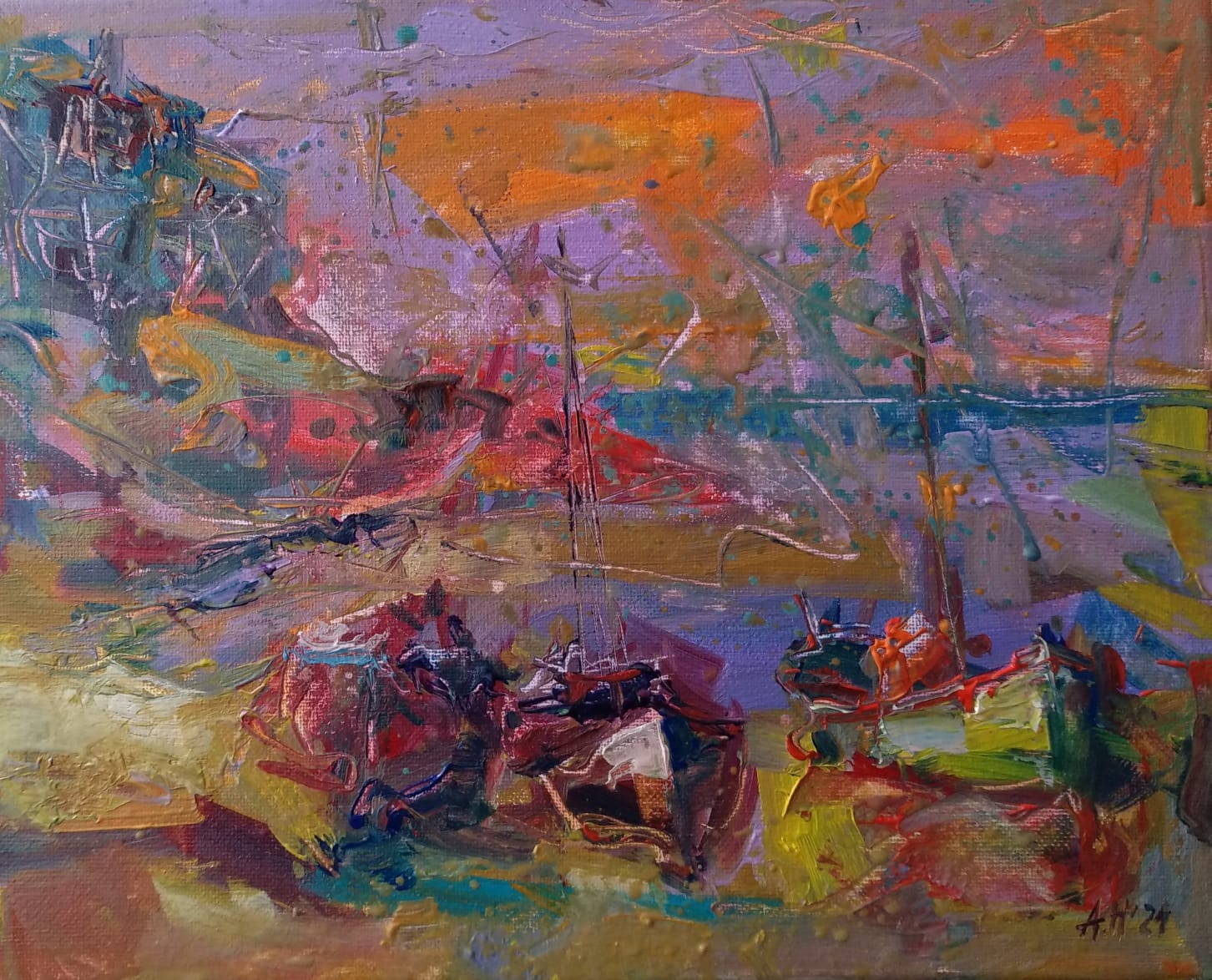 """Morning"" Abstract Painting Angelina Nedin 2021"