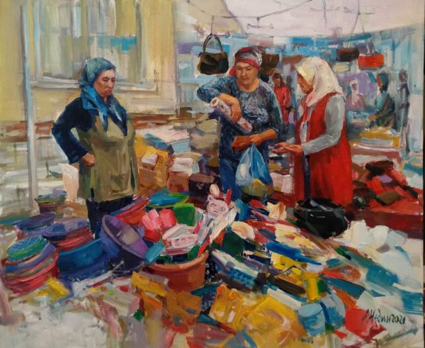 """""""On the Market in Turkey"""" Figural Composition Painting Angelina Nedin 2021"""