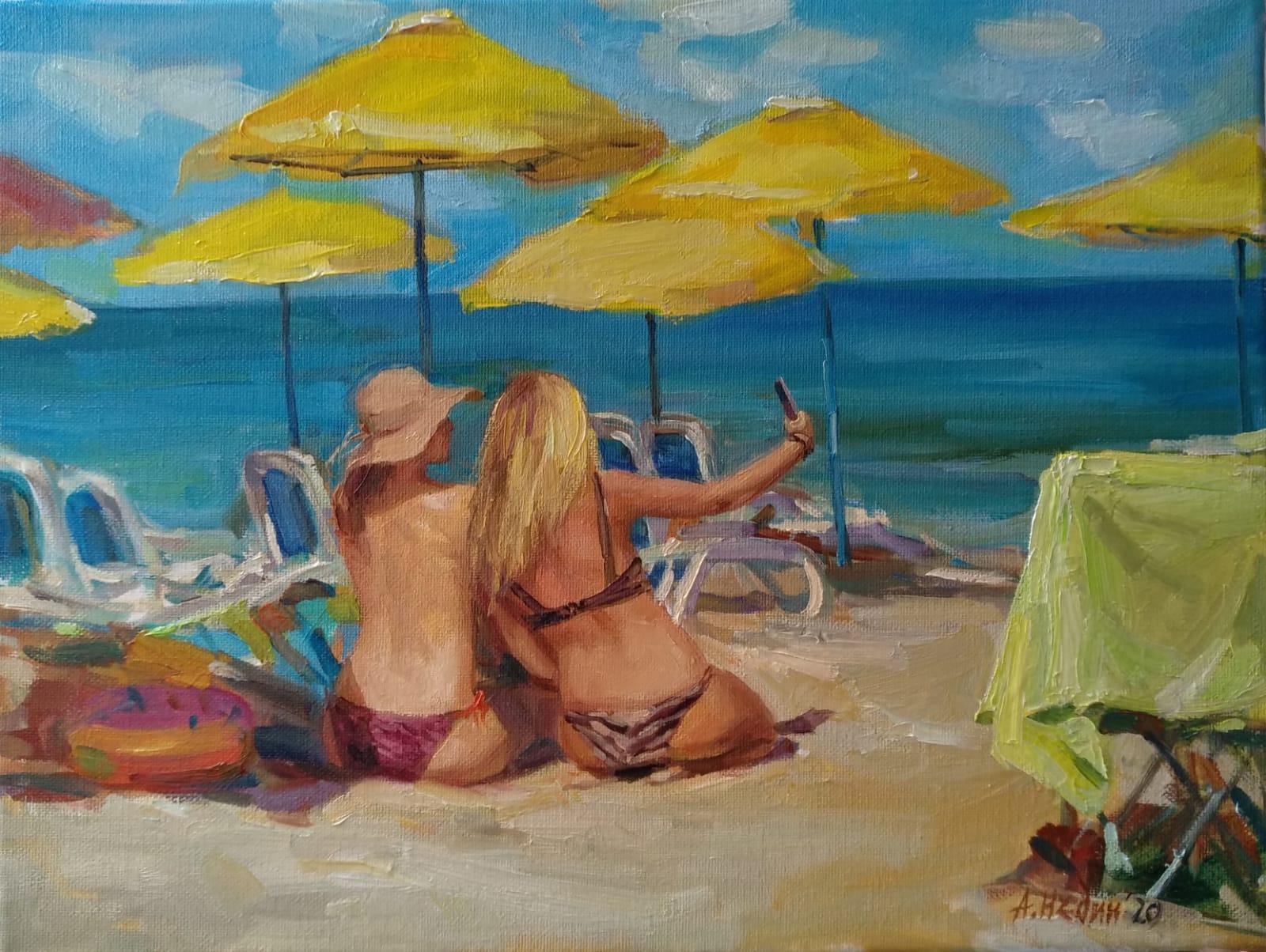 """Selfies on the beach"" Painting Angelina Nedin 2020"