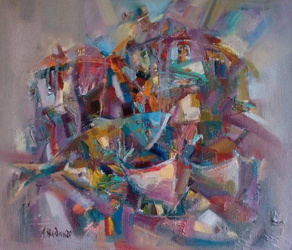 """""""Sozopol"""" Abstract Painting Angelina Nedin 2020"""