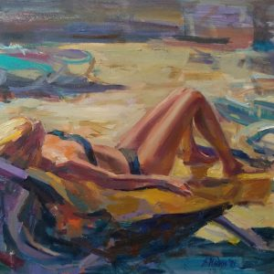 """Tan"" Figurative Composition Painting Angelina Nedin"