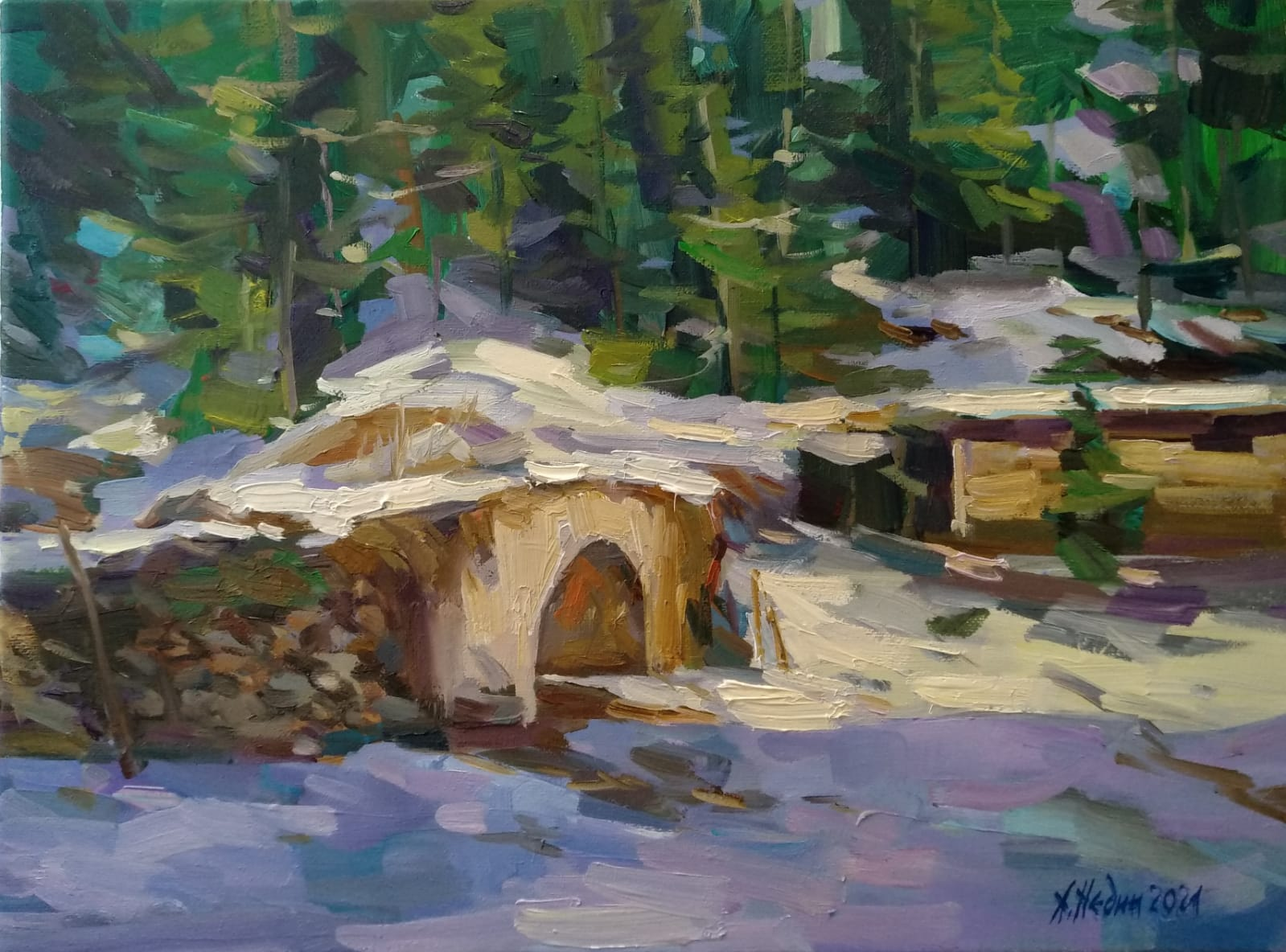 """The Old Bridge"" Landscape Painting Angelina Nedin 2021"