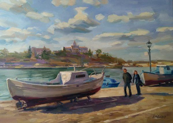 """The Port of Sozopol"" Seascape Painting Angelina Nedin 2021"