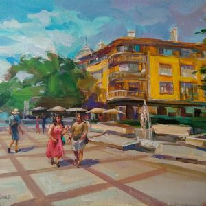 """Walking in Burgas"" Figural Composition Landscape Angelina Nedin 2020"