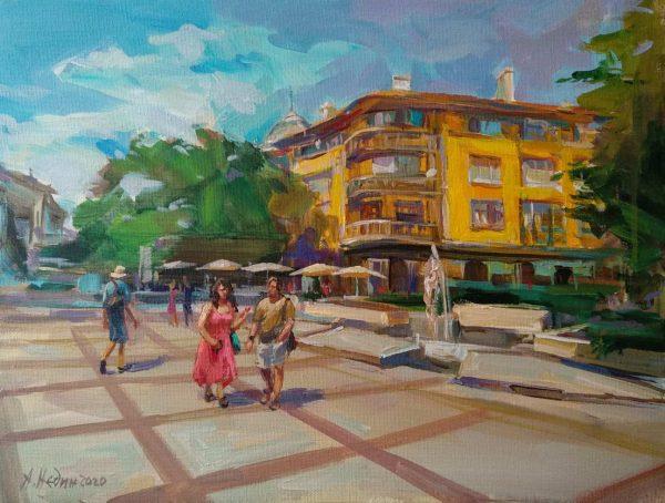 """Walking in Burgas"" Figural Composition Landscape Angelina Nedin 2020"