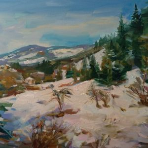 """Winter in the Rhodopes"" Landscape Painting Angelina Nedin 2021"