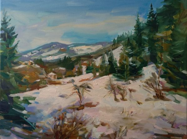"""""""Winter in the Rhodopes"""" Landscape Painting Angelina Nedin 2021"""