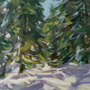 """Winter"" Landscape painting Angelina Nedin 2021"