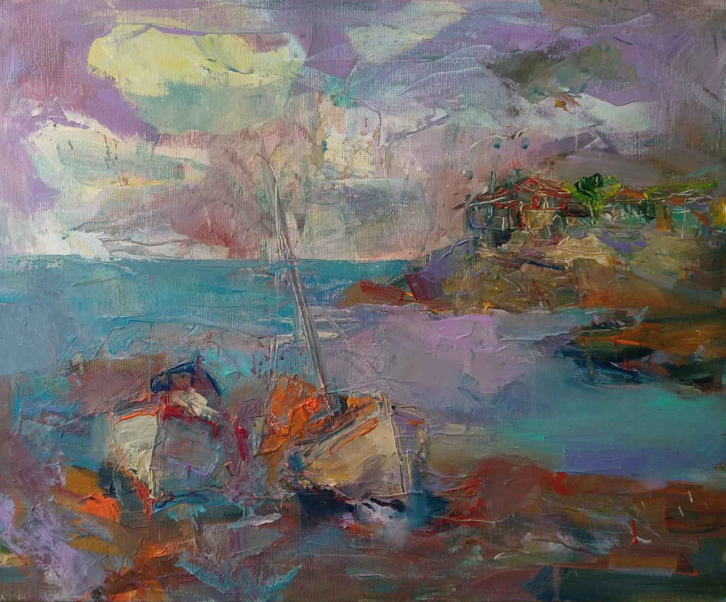 """""""Purple Mood"""" Painting Angelina Nedin 2021"""