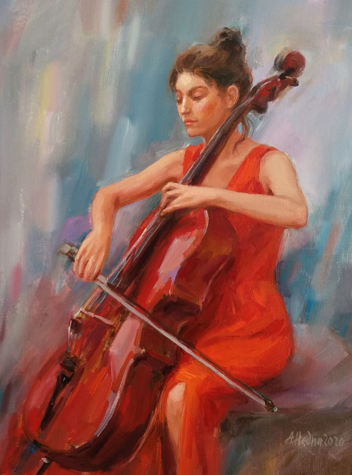 """""""Girl with Cello"""" Figural Composition Angelina Nedin 2020"""