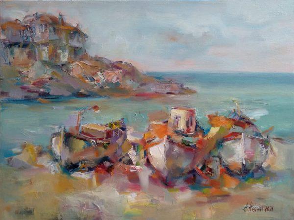 """Beach"" Seascape Painting Angelina Nedin 2021"