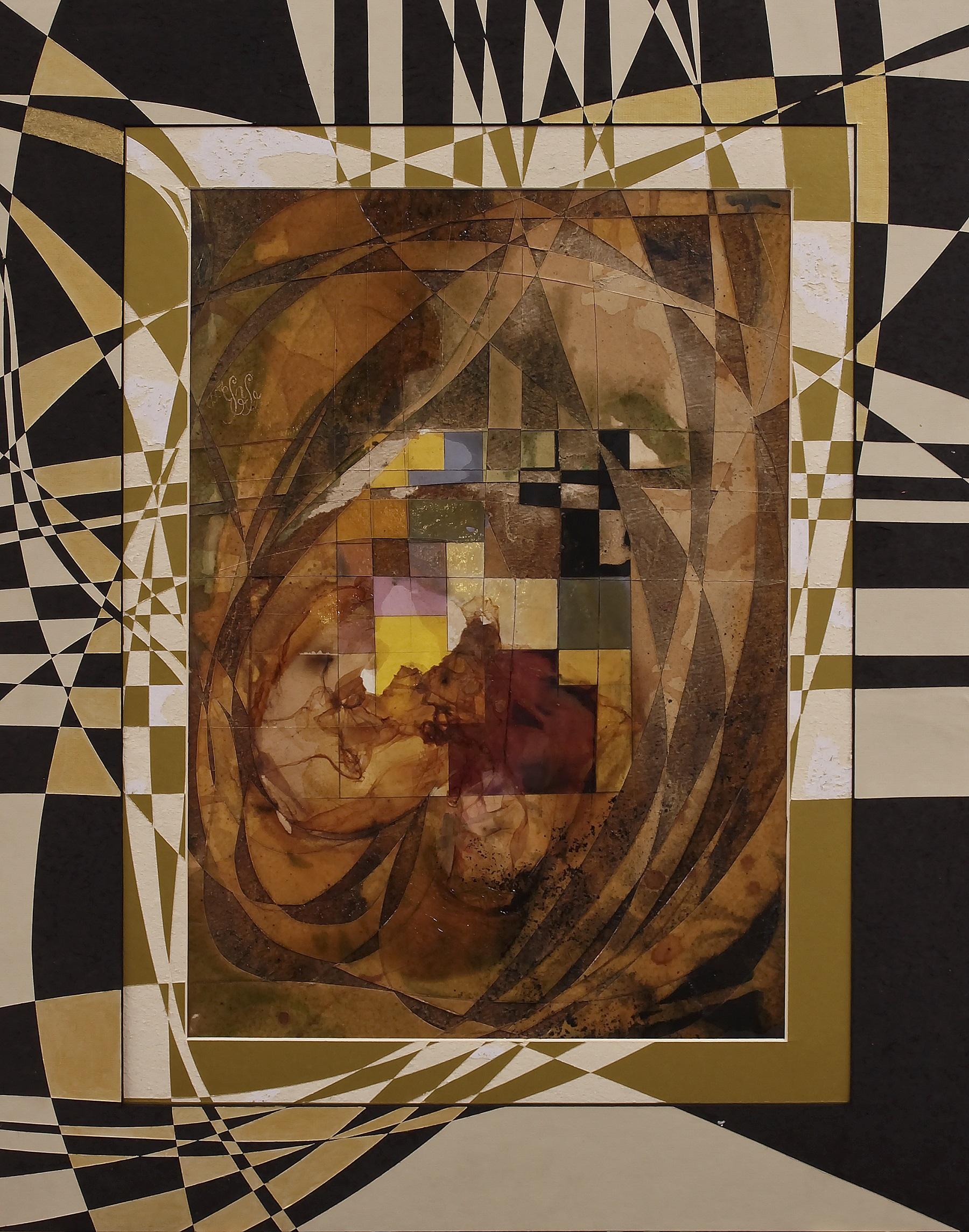 """Amber Heart"" Rumyanka Bozhkova Drawing Engraving on Multilayer Cardboard"