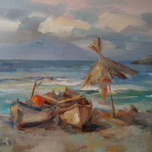 """By the Coast"" Painting Landscape Angelina Nedin 2020"