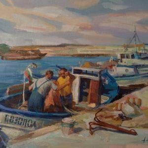 """""""Fishermen"""" Angelina Nedin Painting 2021"""