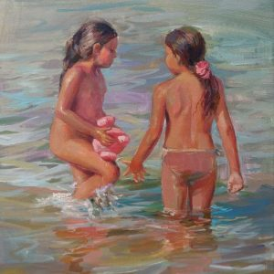 """""""Girls"""" Painting Figural Composition Angelina Nedin 2021"""