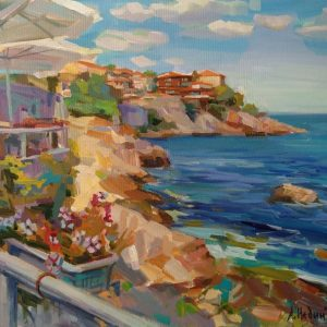 """""""Southern Alley of Sozopol"""" Landscape painting by Angelina Nedin 2021"""